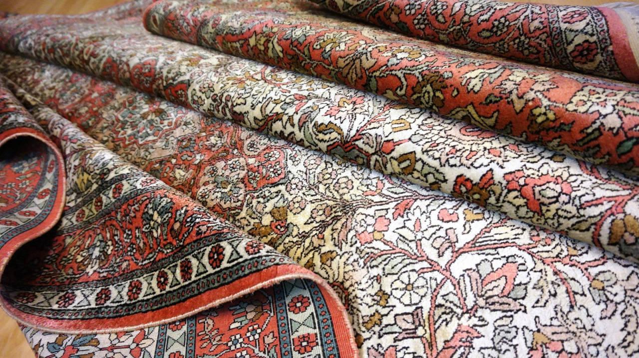 Authentique Beau Tapis Cachemire Ancien En Soie 299x189cm D 39 Un Ch Teau Bdx Ebay