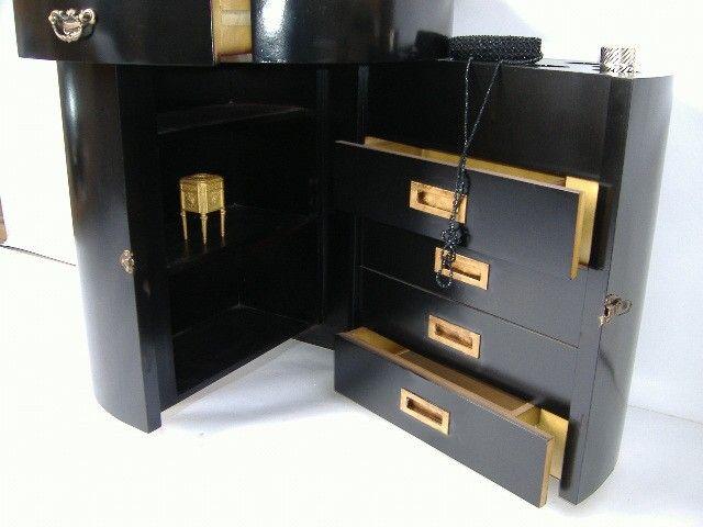 Elegante schminkkommode frisiertisch schwarz vergoldet - Frisiertisch schwarz ...