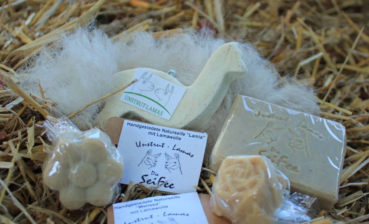 handgesiedete Naturseife aus Wolle der Lamas, Keratin