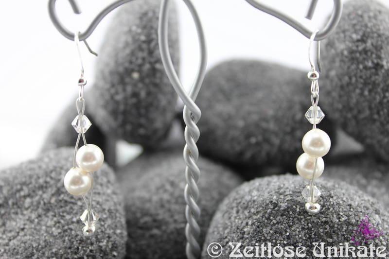 Brautschmuck ohrringe schlicht  Brautschmuck - Luftig, filigrane Brautohrringe - schlicht und elegant