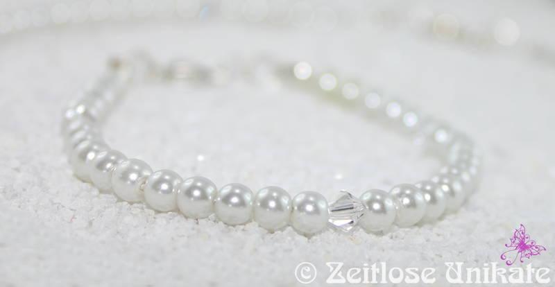 Brautschmuck set schlicht  Brautschmuck - Zierlich, schlichtes Perlenarmband verziert mit ...