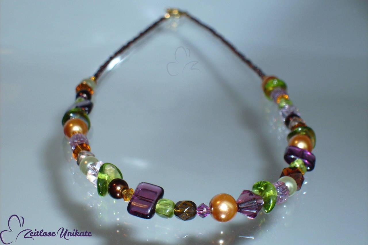 Halskette lila braun - kleines Unikat