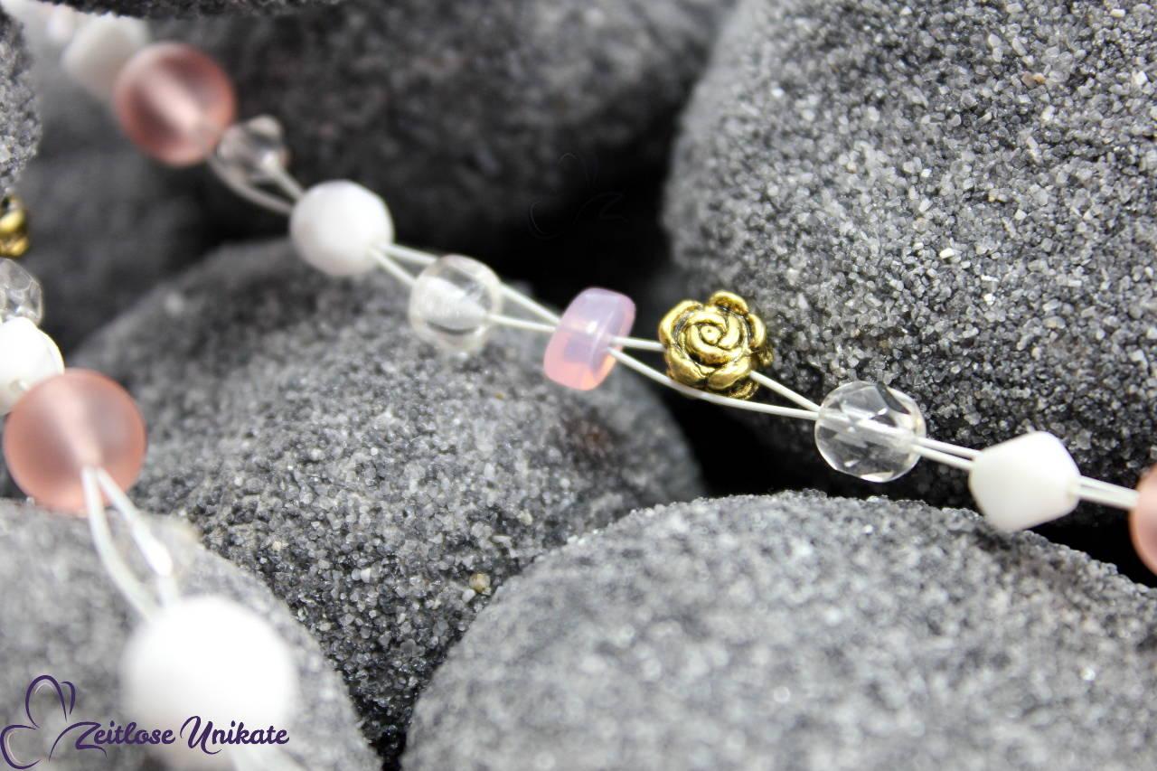 Elbenhochzeit Schmuck, Brautkette rosa weiß