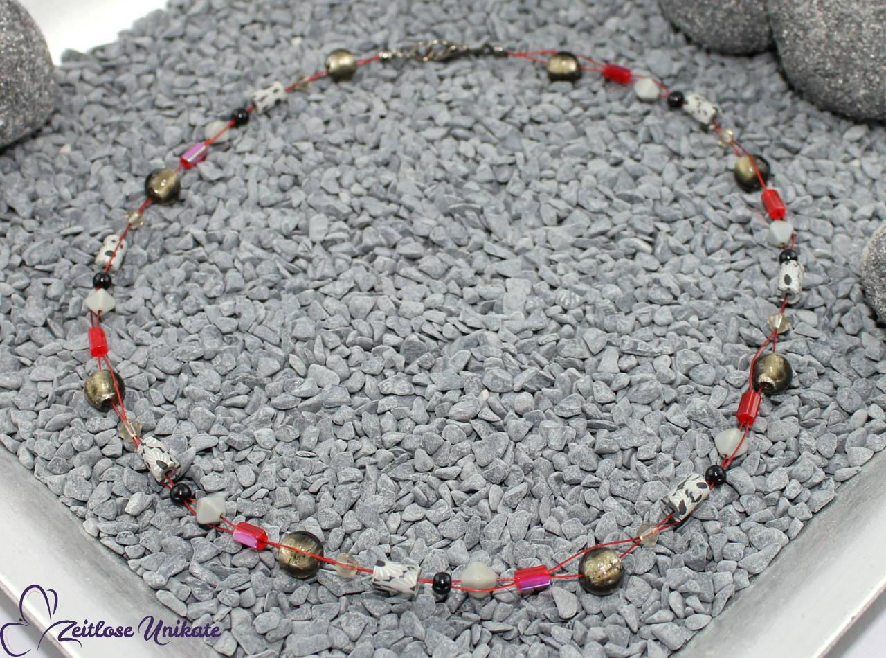 Halskette grau rot