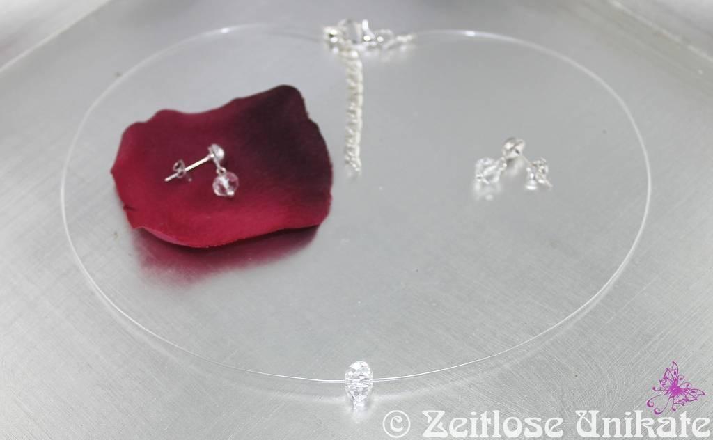 brautschmuck singel shining schwebende perle transparente kette mit einzelnem glas stein. Black Bedroom Furniture Sets. Home Design Ideas