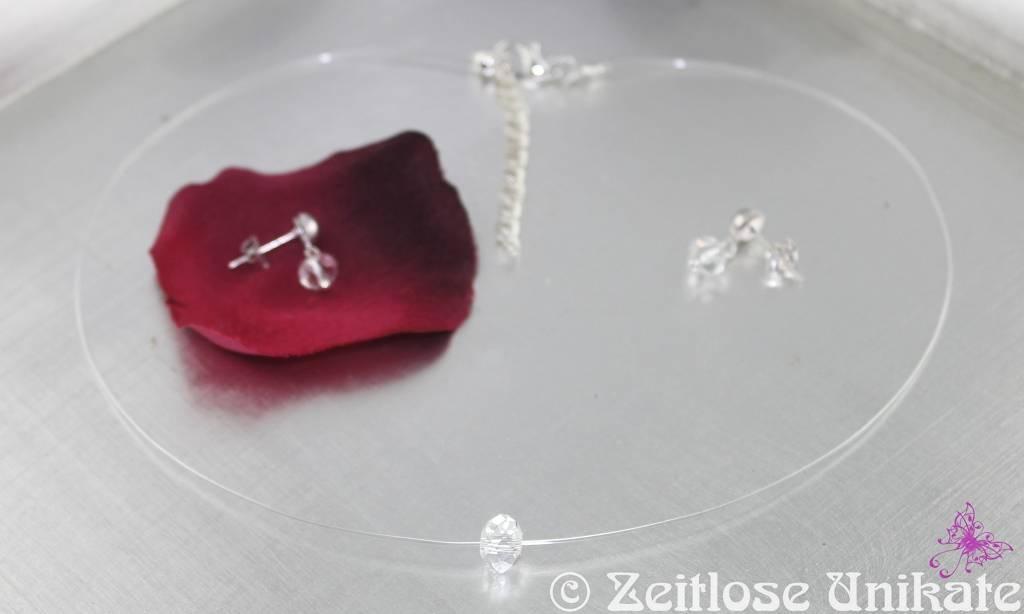 Brautschmuck kette dezent  Brautschmuck - Singel Shining, schwebende Perle, transparente ...
