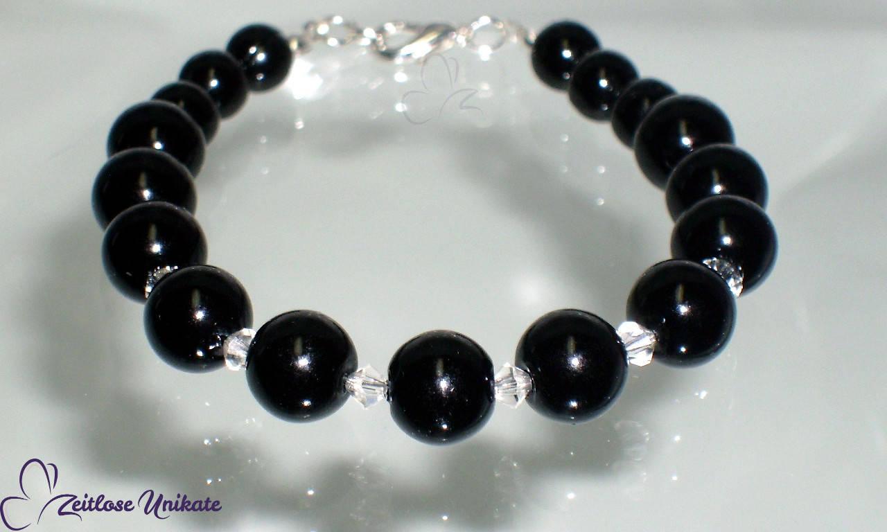 schwarz Armband Kristalle