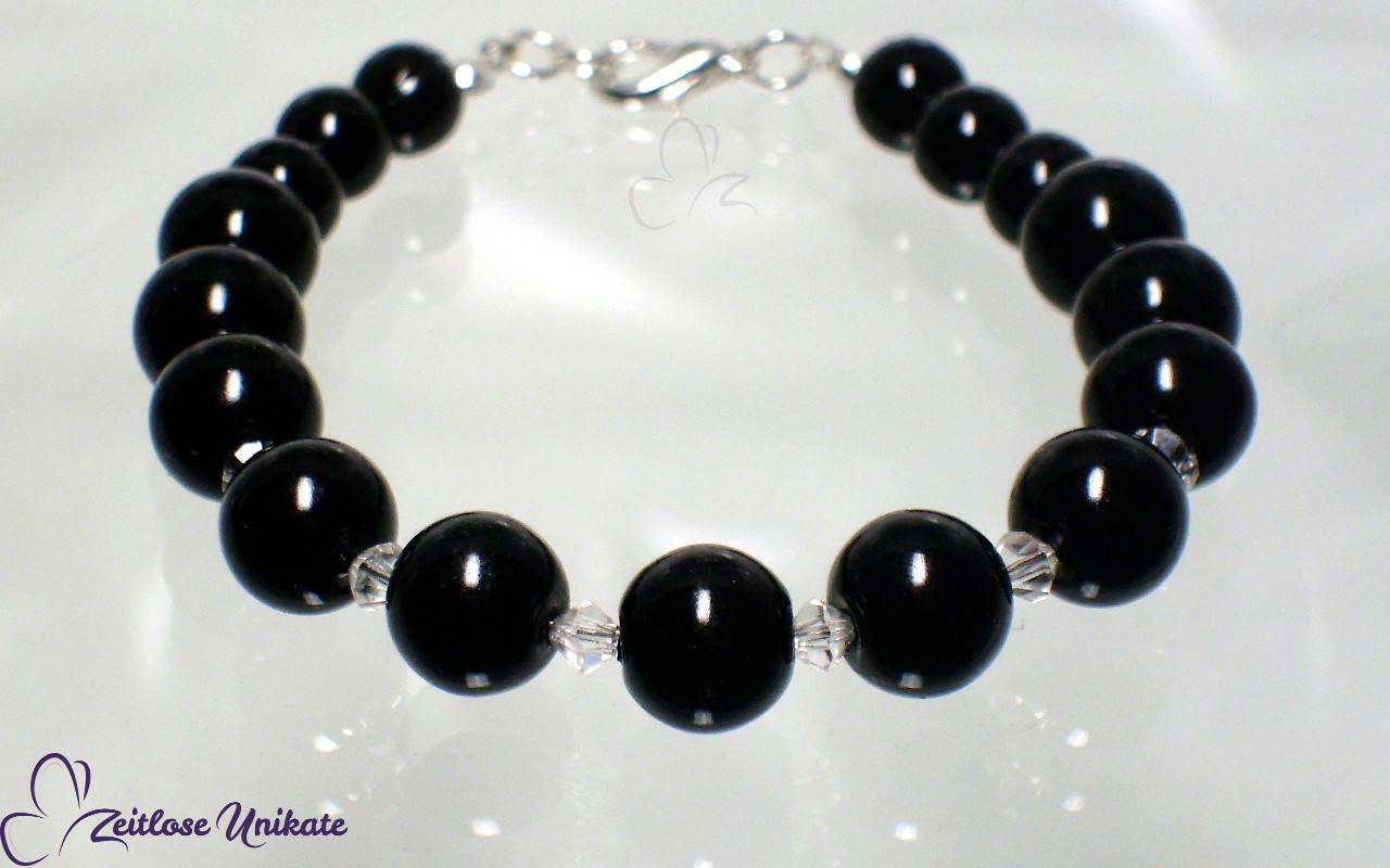 schwarzes Perlenarmband