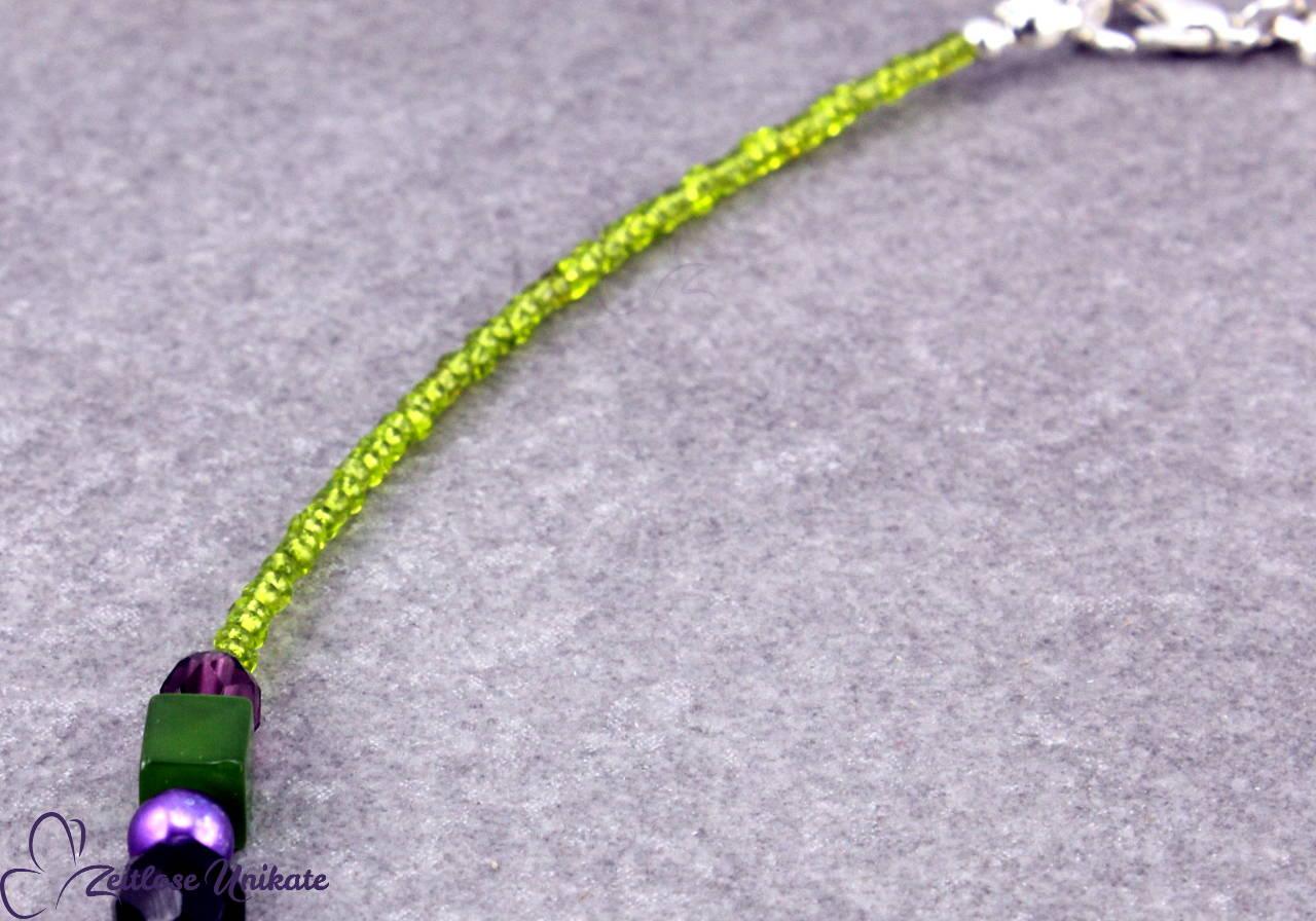 Halskette lila grün - kleines Unikat