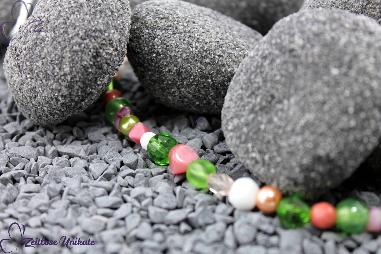 Glasperlenkette grün pink