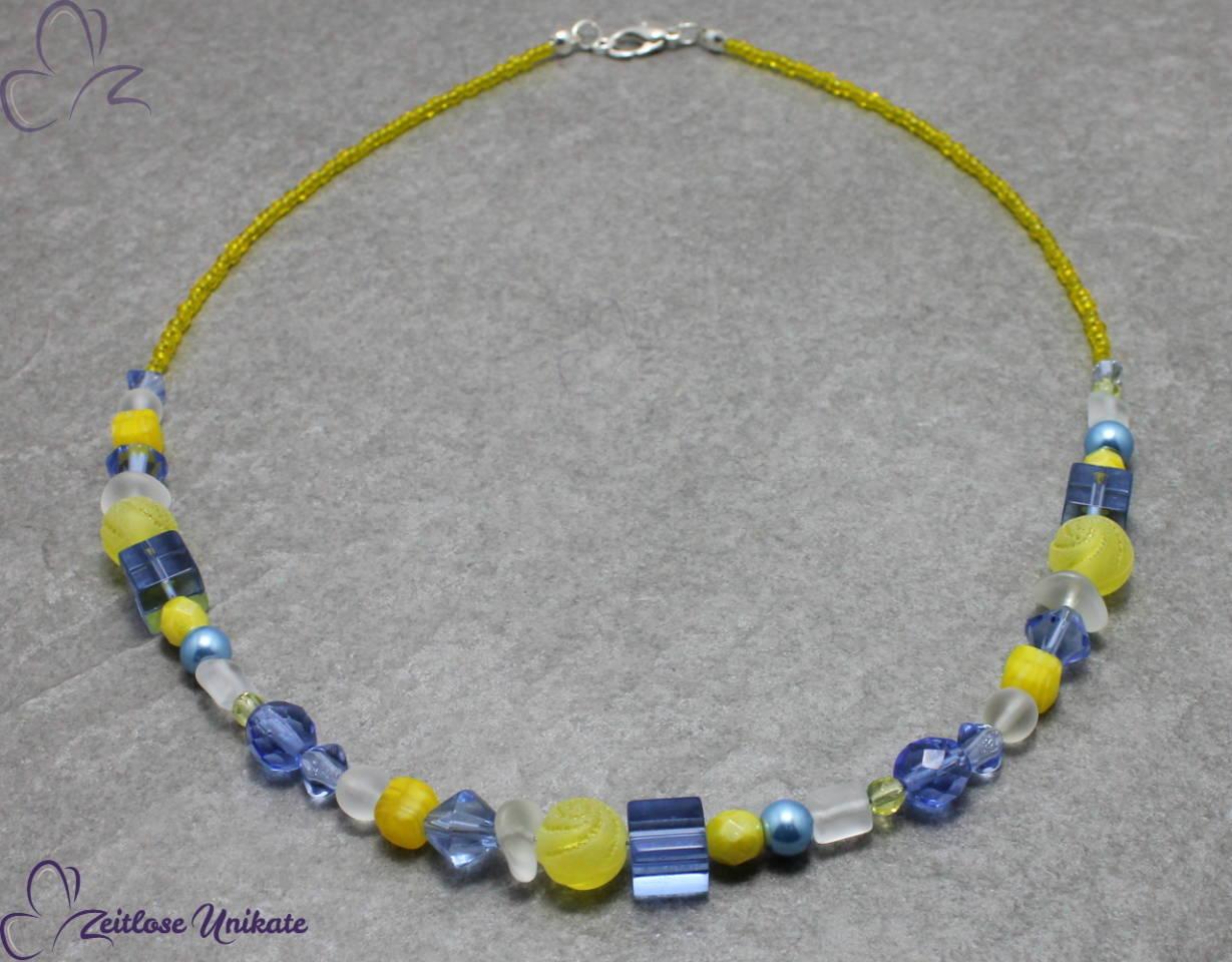 Kette in gelb und blau