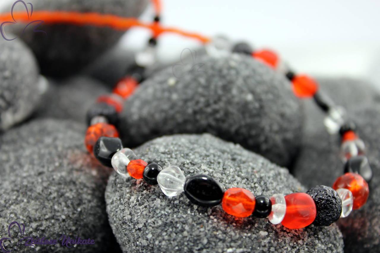 Halskette rot orange und schwarz