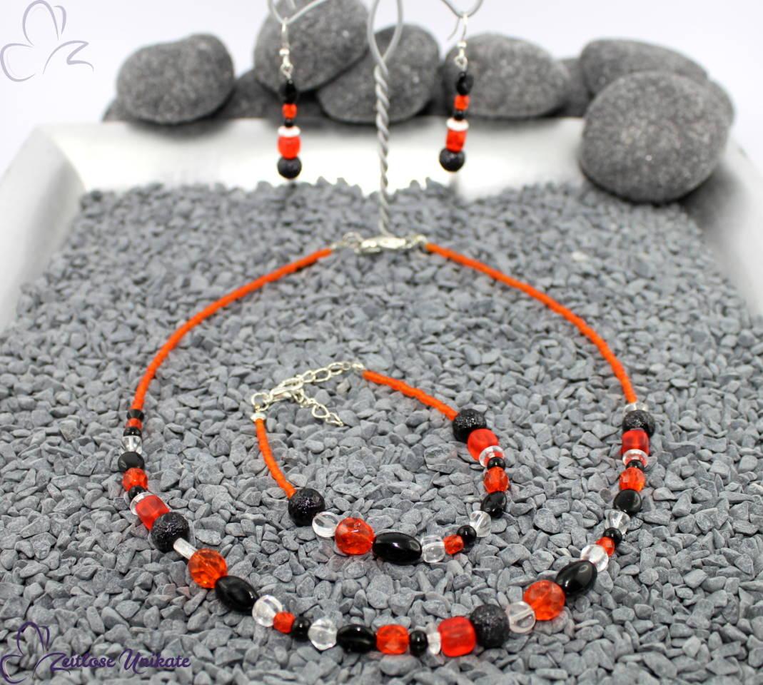 Schmuckset: Kette, Armband und Ohrringe - orange rot schwarz