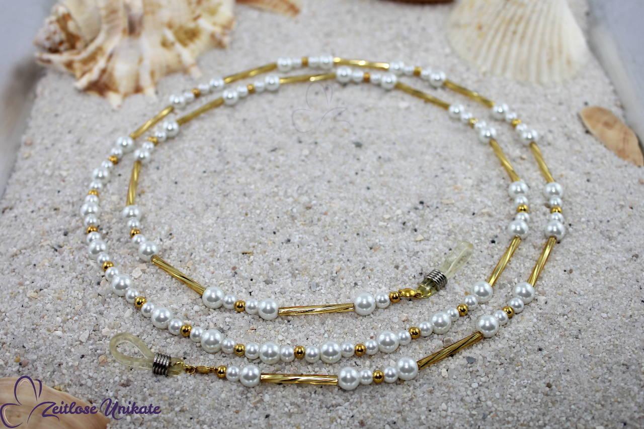 Brillenkette weiß und goldfarben, sehr elegant