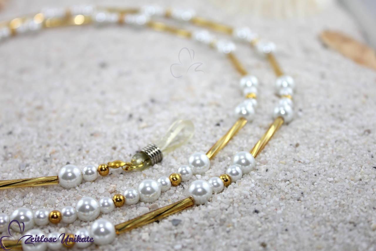 Brillenkette weiß gold, sehr elegant, (viele weitere Farben möglich, auch in z. B. silber schwarz)