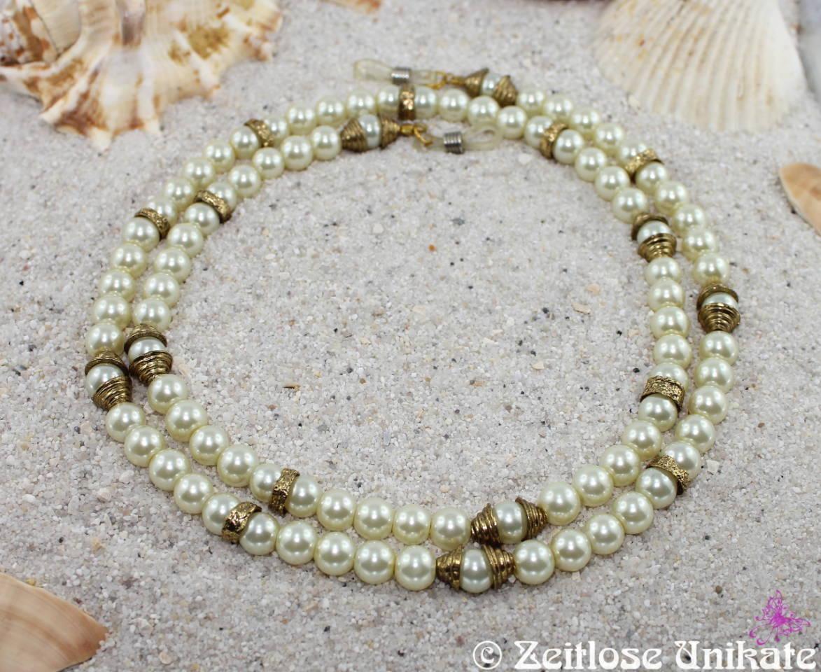 Perlenkette Brillenkette cremeweiß Antik goldfarben