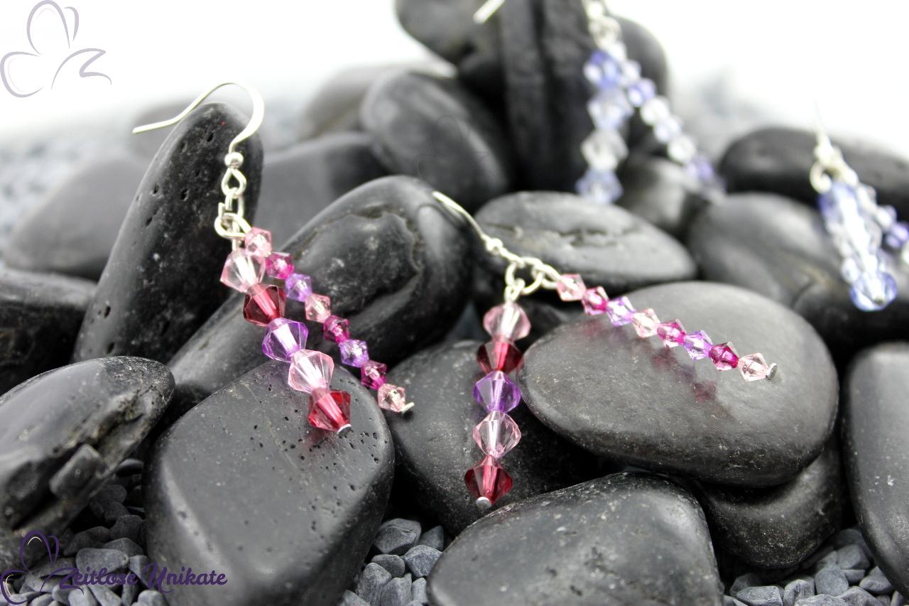 elegante Ohrringe in rosa oder blau