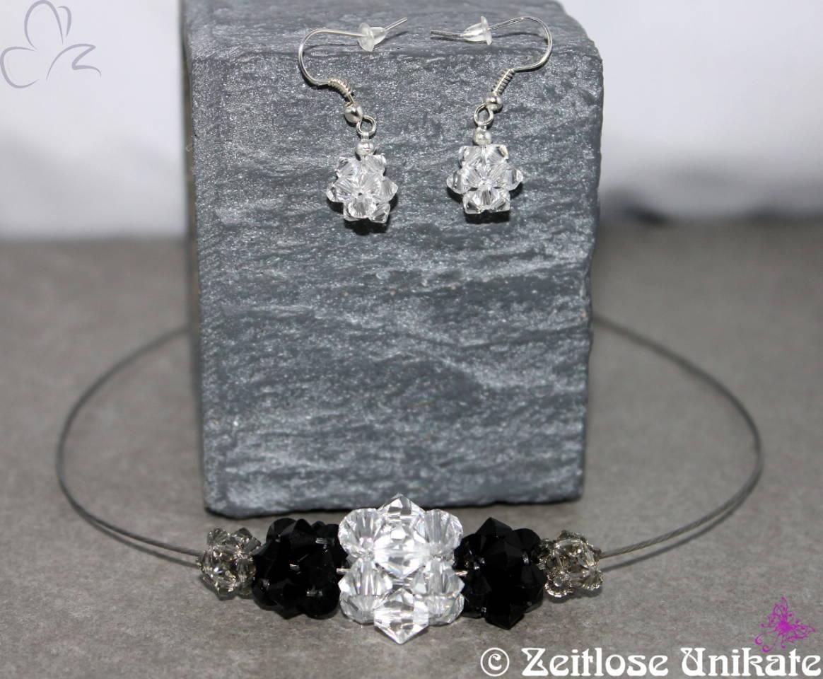 Kristallwürfel Schmuckset in schwarz, grau und klar