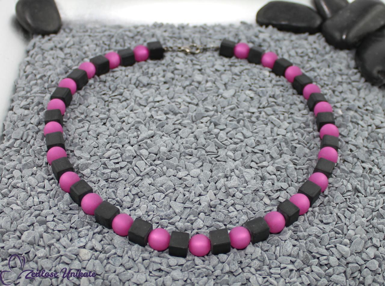 elegantes Collier in schwarz pink