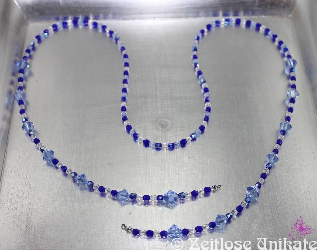 zarte blaue Brillenkette