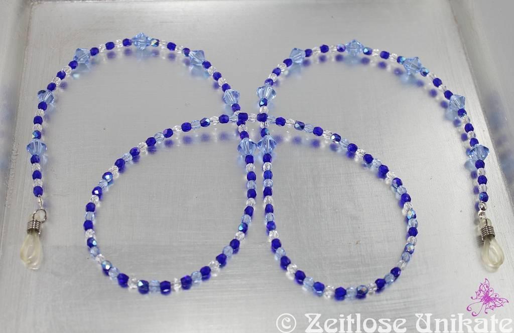 elegante blaue Brillenkette