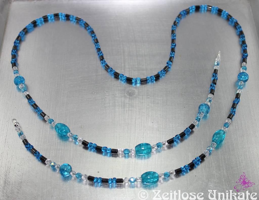 Brillenkette in hämatit und blau