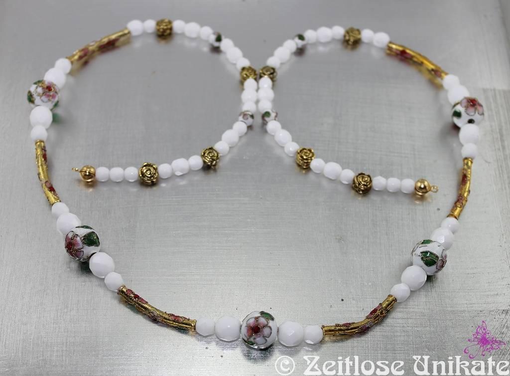 Lange Kette oder Brillenkette weiß gold, absolut einmalig