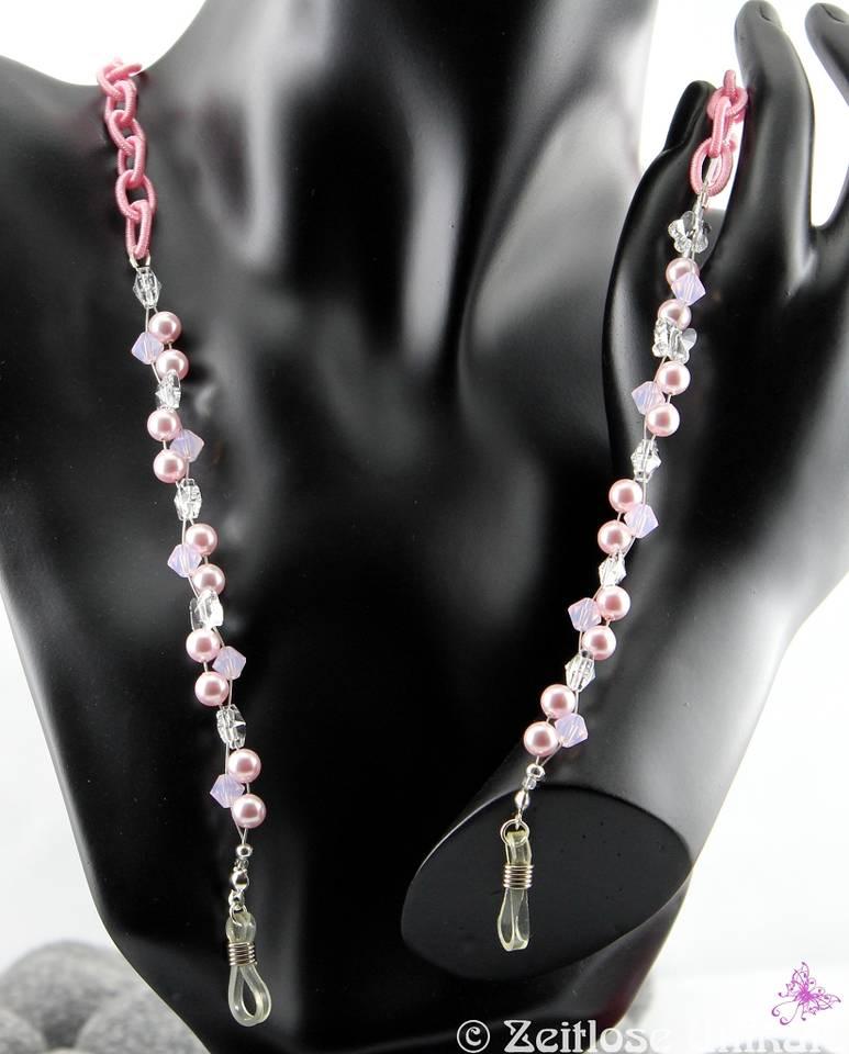 Brillenkette rosa mit Kristall Schmetterlingen und Blumen