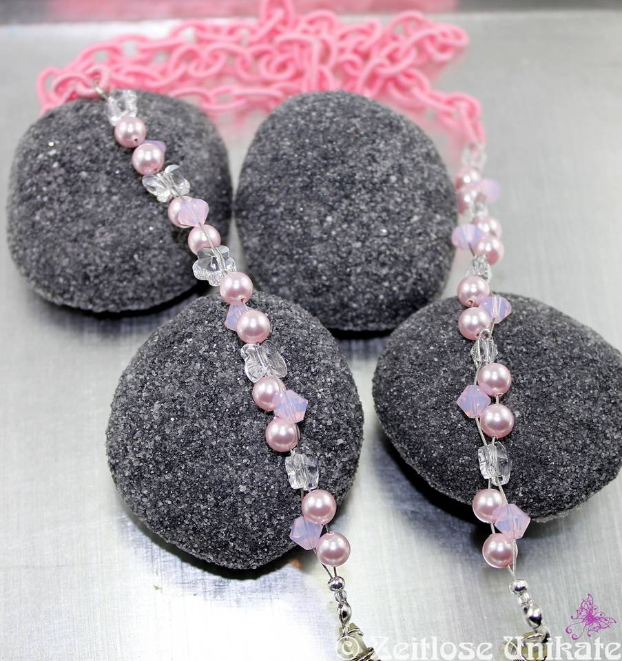 verträumte Brillenkette, rosa - Textil Perlenmix