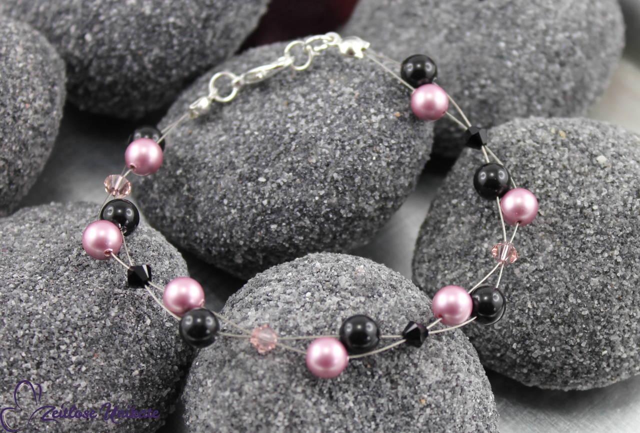 Armband in rose und schwarz, luftiges Armband für jeden Anlass