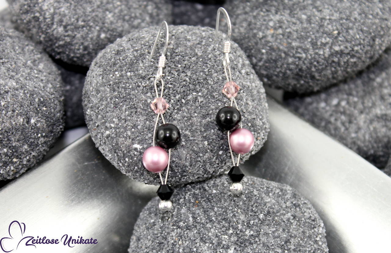 Ohrhänger rosa schwarz, luftige Ohrringe für jeden Anlass