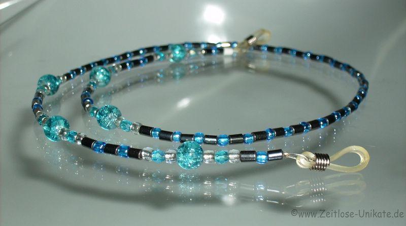 Brillenkette hämatit blau
