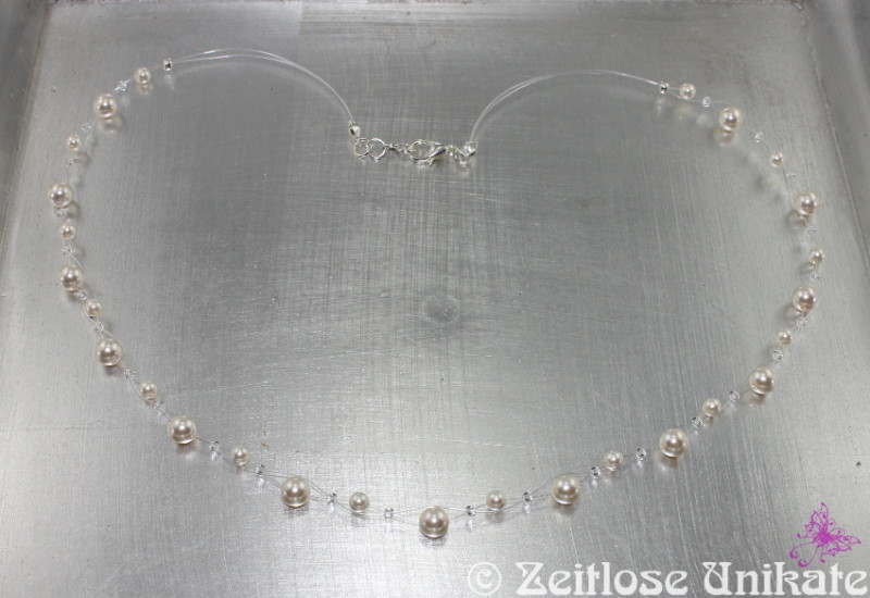 Brautschmuck transparente Kette mit Perlen