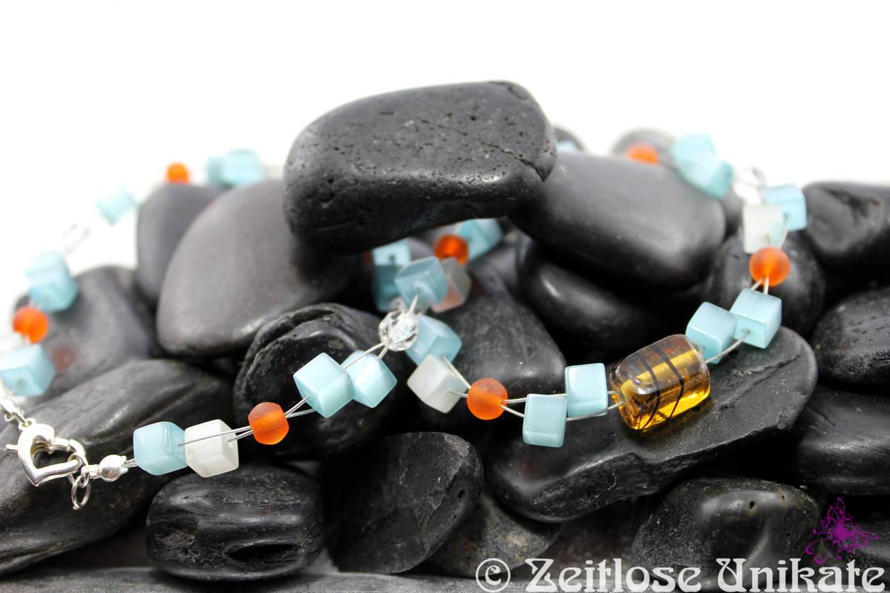 t rkise katzenaugen zauberhafte kette mit passenden ohrringen und armband t rkis wei orange. Black Bedroom Furniture Sets. Home Design Ideas
