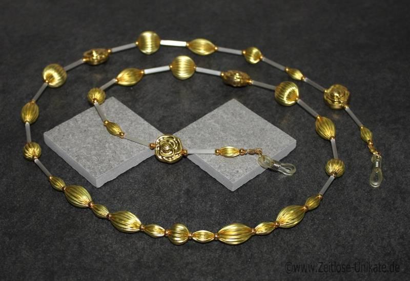 Brillenkette in weiß und gold, (so) einmalig