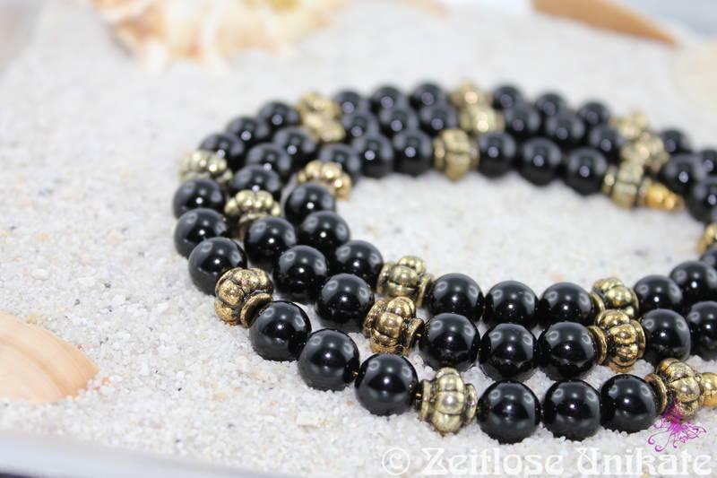 lange Halskette oder Brillenkette - Perlenkette schwarz