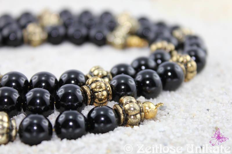 Brillenkette in schwarz und antikgold