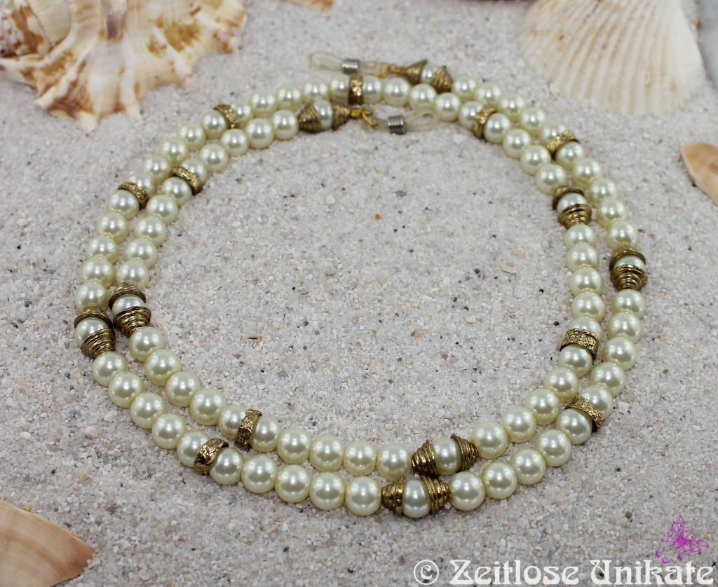 Brillenkette edel in weiß antikgold, ägyptisch angehaucht