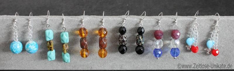 Ohrringe in verschiedenen Farben und Formen gerne auch nach Wunsch