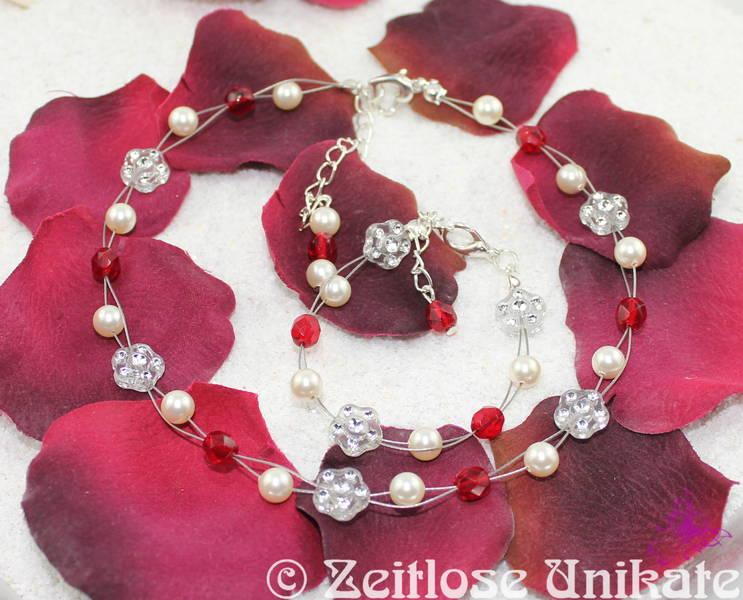 Schmuck für ein Blumenmädchen, Kette und Armband in rot