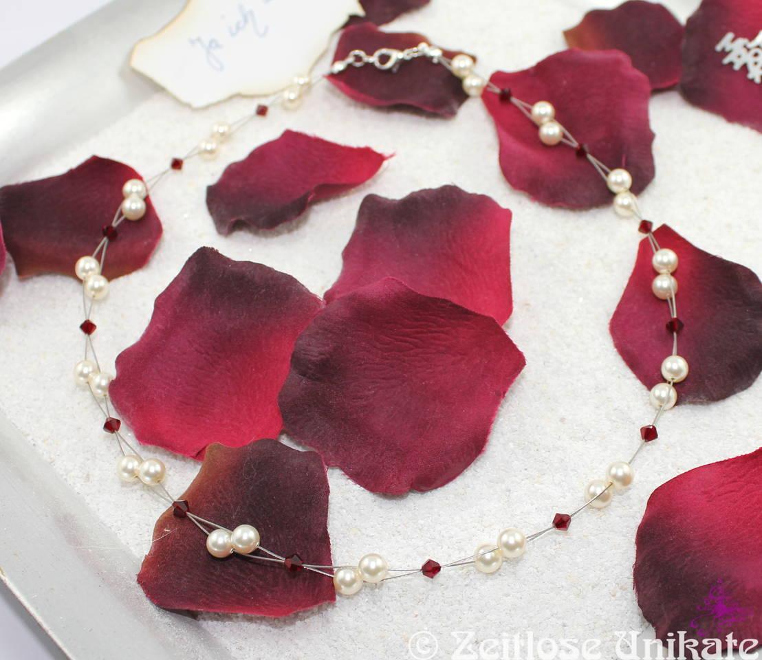 Braut Kette in rot und cream oder white