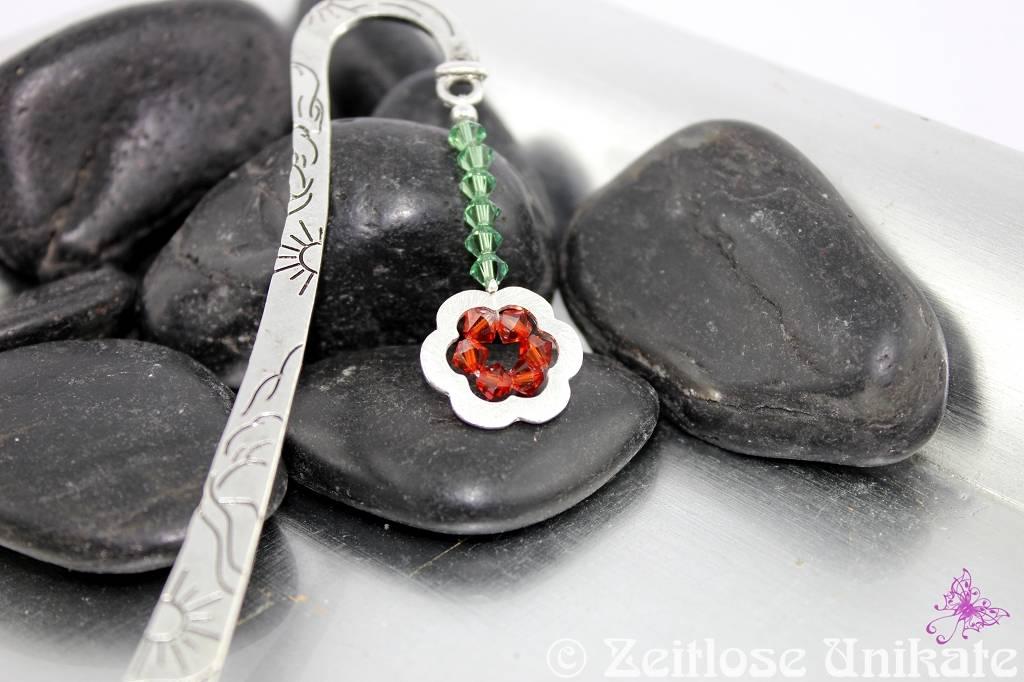 Lesezeichen in z. B. dunkelrot mit Blume, Farbwunsch möglich