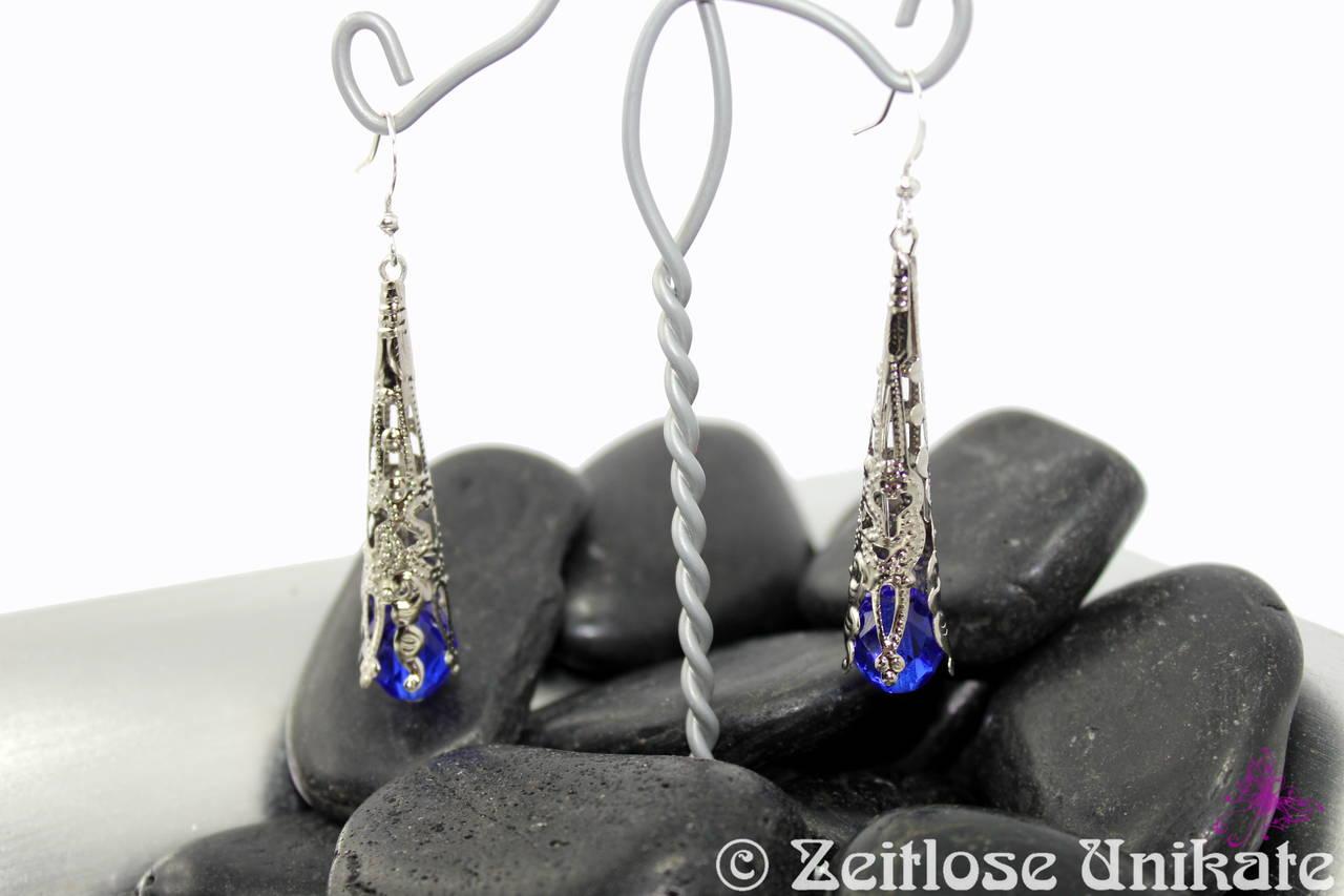 filigrane blaue lange Ohrhänger