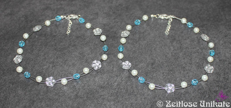 Blumenmädchen Halskette in blau