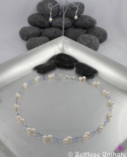 Brautschmuck mit fliederfarbenen Kristallen