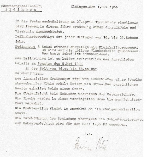Gründung der Jungschützen 1966