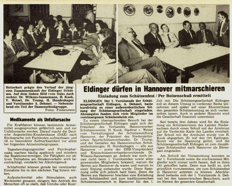 Eldinger Schützen fahren 1979 nach Hannover