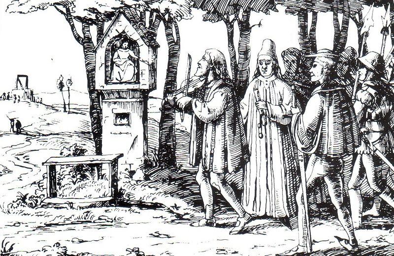 """Illustration von Franz Graf Pocci zu """" Der arme Spielmann"""" (um 1835 ; Zeichnung im Stil mittelalterlicher Holzschnitte)"""