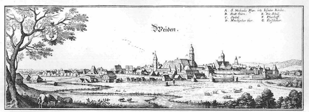 Weiden in der Oberpfalz etwa im Jahre 1750 - Stich von Merian
