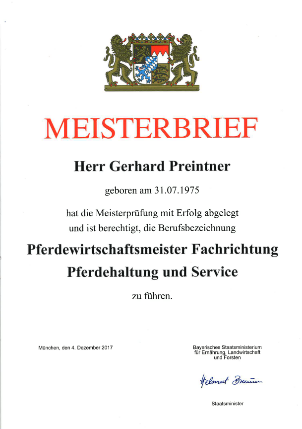 Meisterbrief Gerhard Preintner